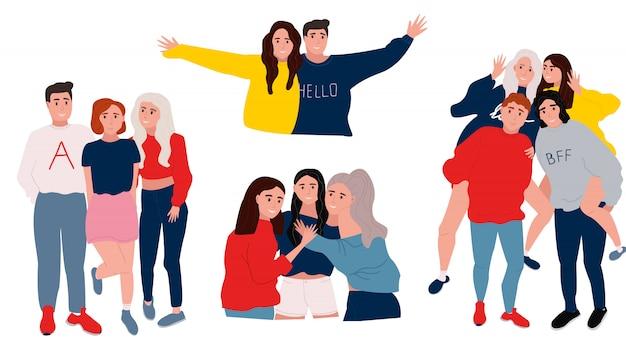 Groep glimlachende tienerjongens en meisjes of schoolvrienden die zich verenigen