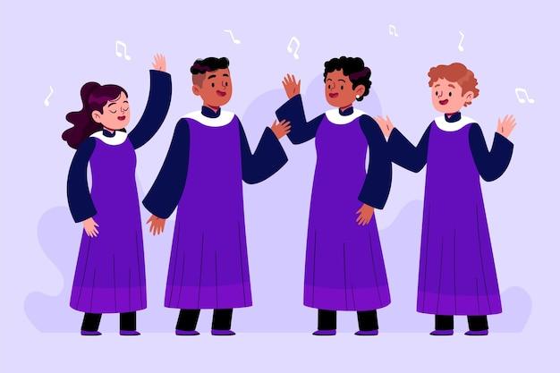 Groep gospelkoor illustratie