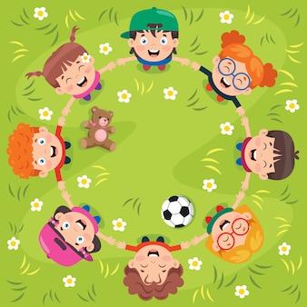 Groep grappige spelende kinderen