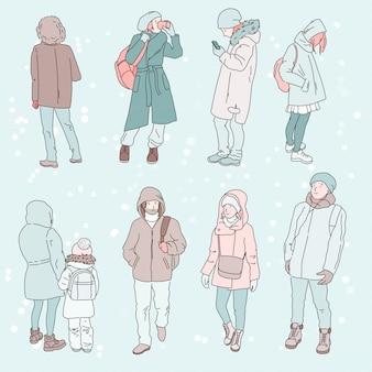 Groep hand getrokken mensen in de winterdoek, illustratie. pasteltinten, lichte achtergrond.