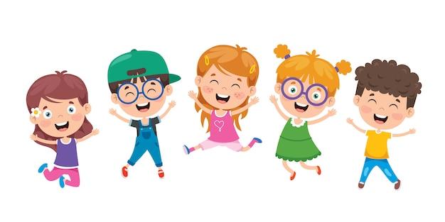 Groep het grappige kinderen springen