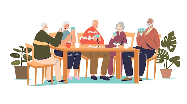 Groep hogere vrienden speelkaarten illustratie