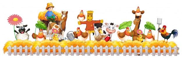 Groep huisdieren in een geïsoleerd landbouwbedrijf