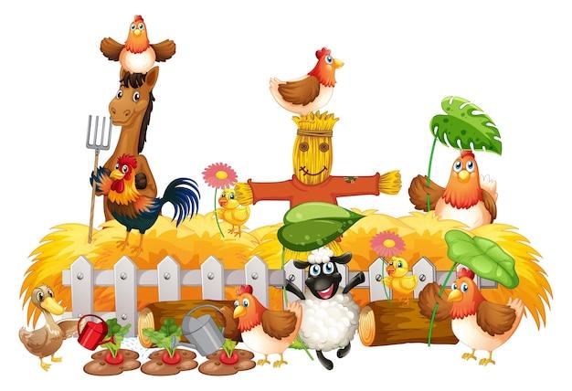 Groep huisdieren in een geïsoleerde boerderij