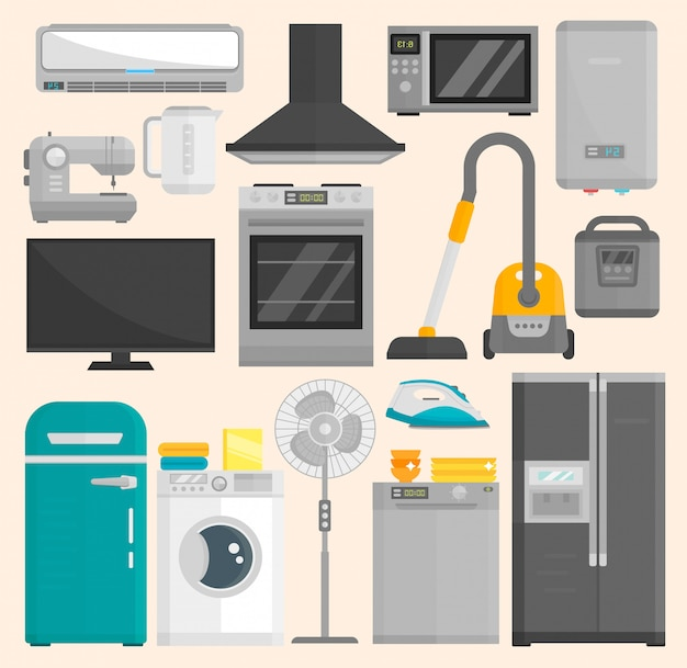 Groep huistoestellen die op witte ruimte wordt geïsoleerd. keukenapparatuur koelkast huishoudelijk apparaat oven oven magnetron elektrisch huishoudelijk apparaat koken vriezer gereedschap