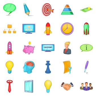 Groep iconen set, cartoon stijl