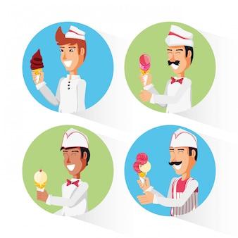 Groep ijs verkopers karakters