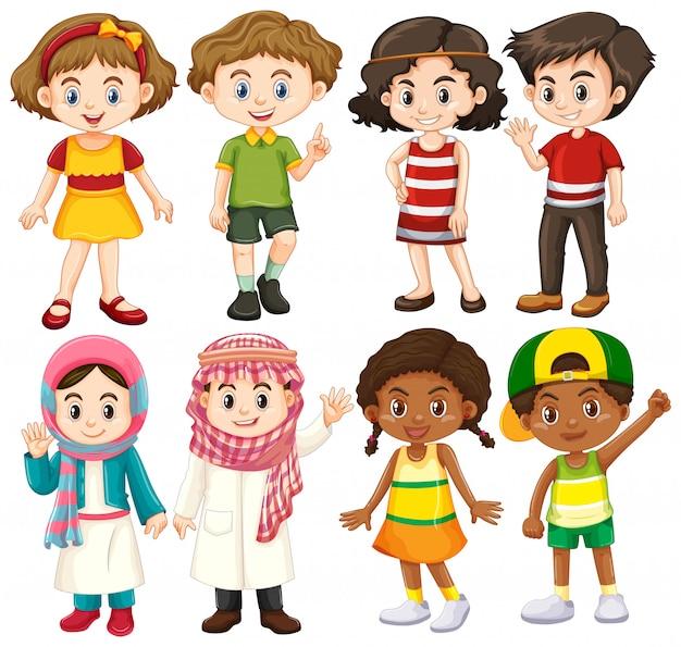 Groep internationale kinderen karakter