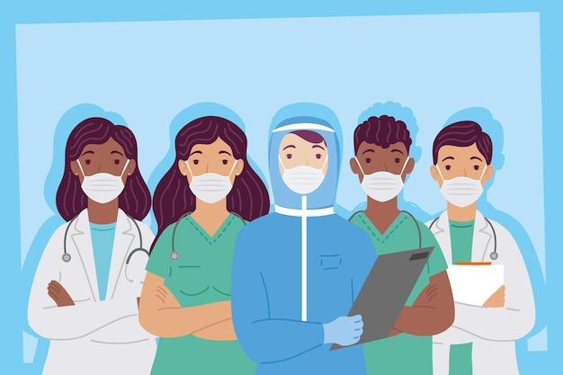 Groep interracial artsenpersoneel die het ontwerp van de medische maskersillustratie dragen