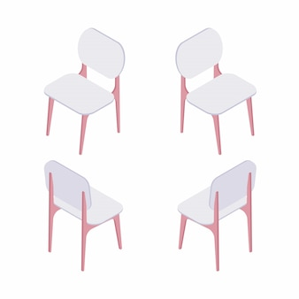 Groep isometrische illustratie van witte stoelen.