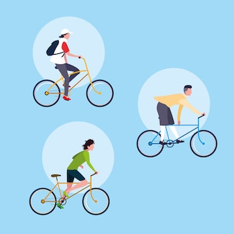 Groep jong avatar van de personenvervoerfiets karakter