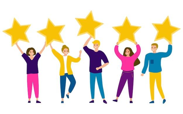 Groep jonge gelukkige mensen houden sterren in hun handen mannen en vrouwen die streven naar perfectie