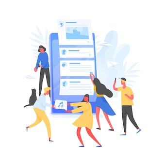 Groep jonge mannen en vrouwen en gigantische smartphone met berichten op het scherm