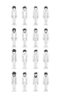 Groep jonge mannen personages