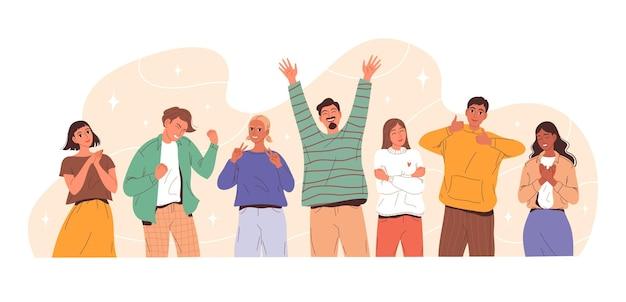 Groep jonge mensen die verschillende positieve emoties uitdrukken.