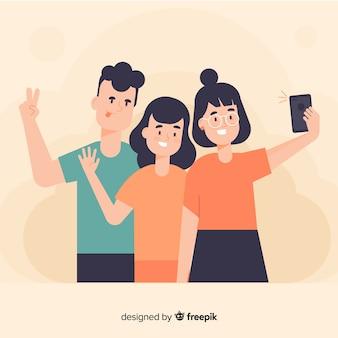Groep jonge mensen die voor een foto stellen