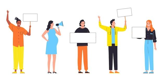Groep jonge mensen houden banners geïsoleerd op een witte achtergrond platte vectorillustratie