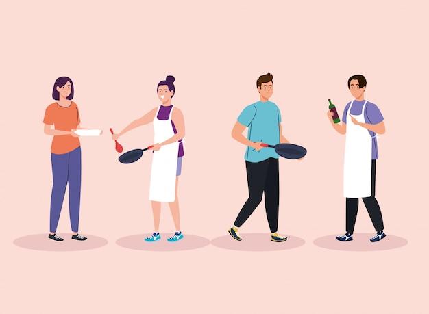 Groep jonge mensen koken