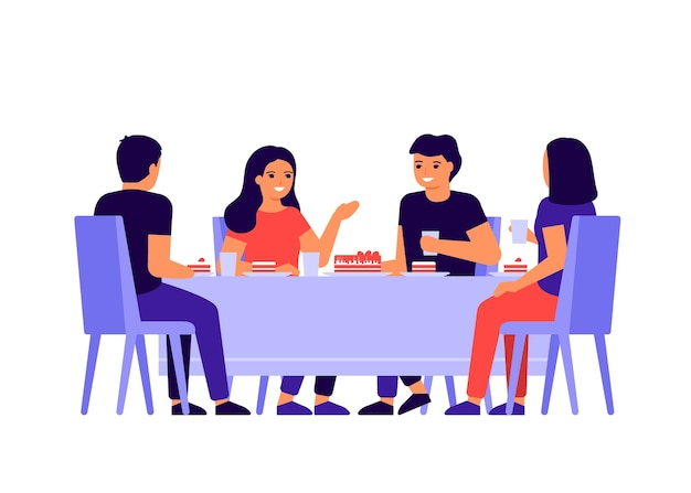 Groep jonge mensen zitten samen aan tafel, praten en eten. gelukkige vrienden vieren vakantie en eten cake. mannen en vrouwen proeven thuis, in restaurant of café. vlak