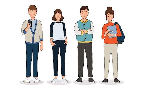 Groep jonge mensenstudenten met gadgets