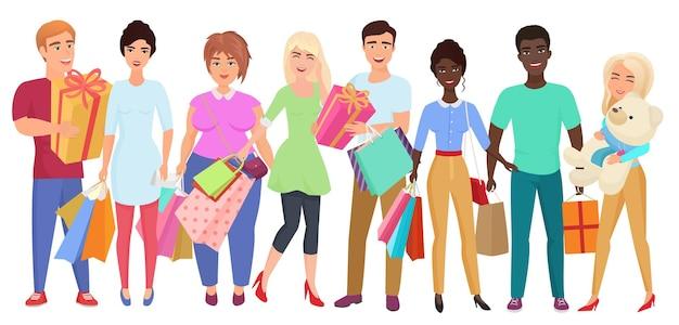 Groep jonge mensenvrienden met aankopen en giften