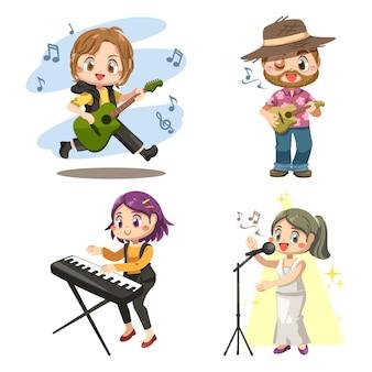 Groep jonge muzikanten spelen basgitaar, ukelele en schattig meisje speelt elektrisch toetsenbord met zangeres