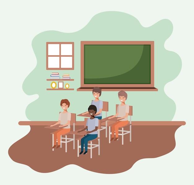 Groep jonge studenten in de klas