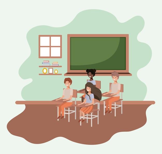 Groep jonge studenten in het ontwerp van de klaslokaal vectorillustratie