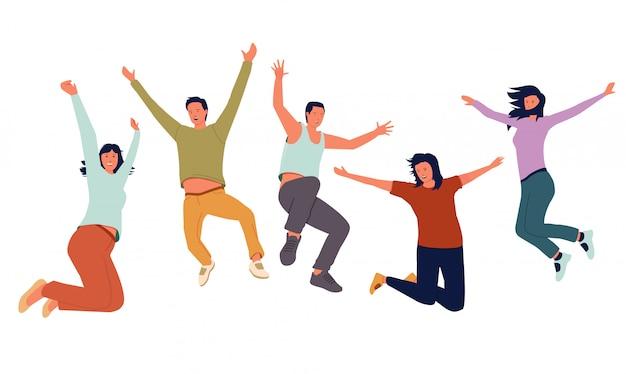 Groep jonge vrolijke mensen die met opgeheven handen springen