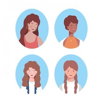 Groep jonge vrouwenavatars