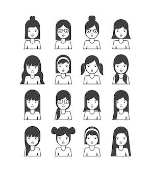 Groep jonge vrouwentekens