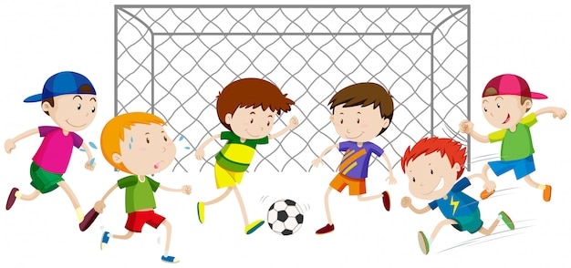 Groep jongens die voetbal spelen