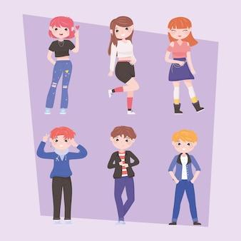 Groep jongens meisjes