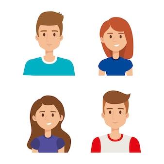 Groep jongeren avatars vector illustratie ontwerp