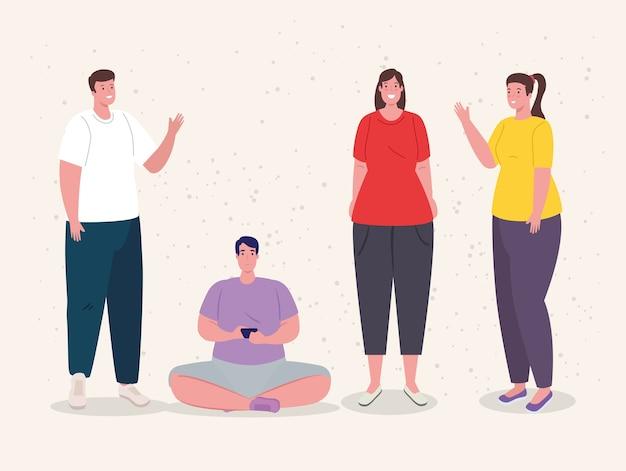 Groep jongeren bijeenkomsten illustratie ontwerp