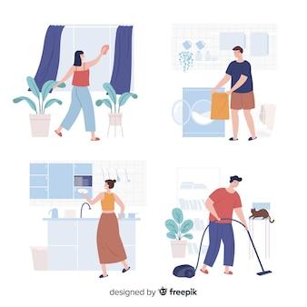 Groep jongeren die huishoudelijk werk doet