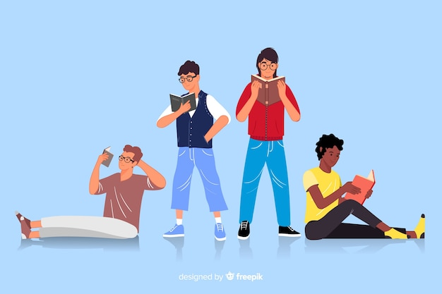 Groep jongeren die illustratie lezen