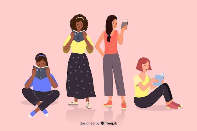 Groep jongeren die illustratieontwerp lezen
