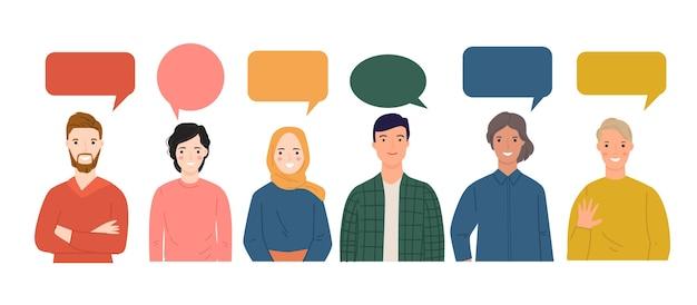 Groep jongeren die samen met de kleurrijke bellen van de dialoogtoespraak spreken.