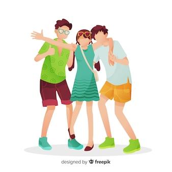 Groep jongeren die voor een foto stellen