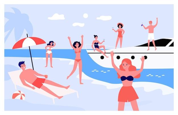 Groep jongeren genieten van feest aan zee. tekenfilm
