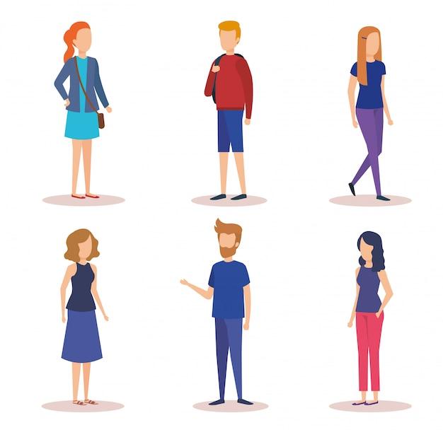 Groep jongeren karakters