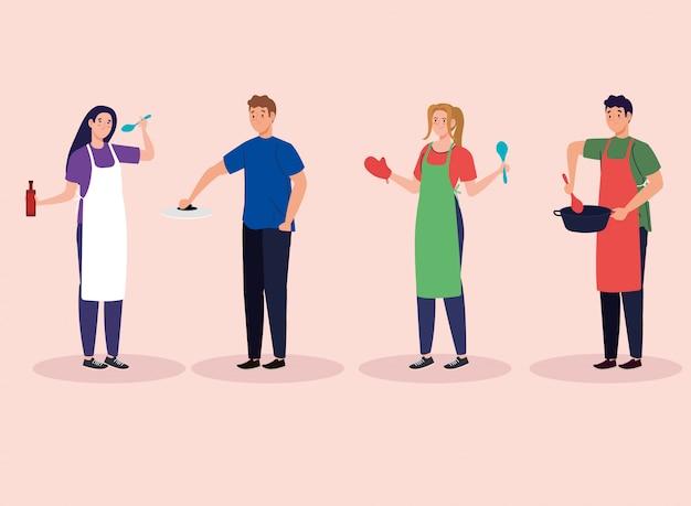 Groep jongeren koken, avatar karakters