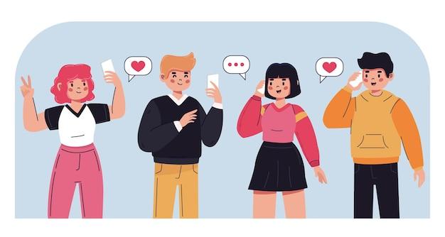 Groep jongeren met behulp van smartphones
