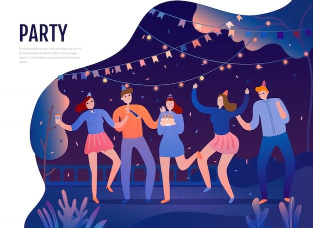Groep jongeren met feestelijke attributen tijdens dansen op de vlakke illustratie van de geboortedagpartij