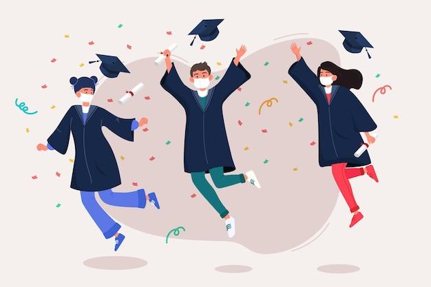 Groep jongeren met het medische een diploma behalen