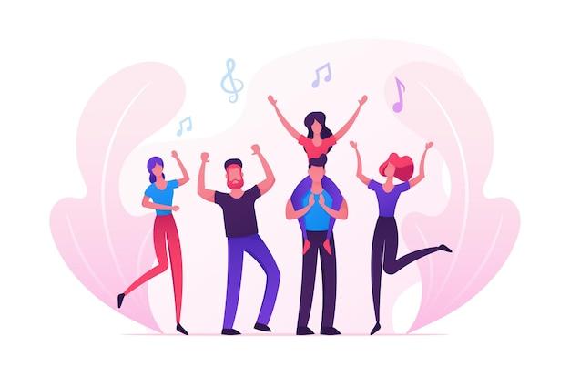 Groep jongeren muziekevenement bezoeken