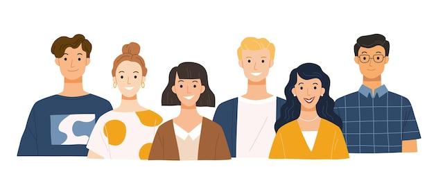 Groep jongeren platte stripfiguren geïsoleerd op wit