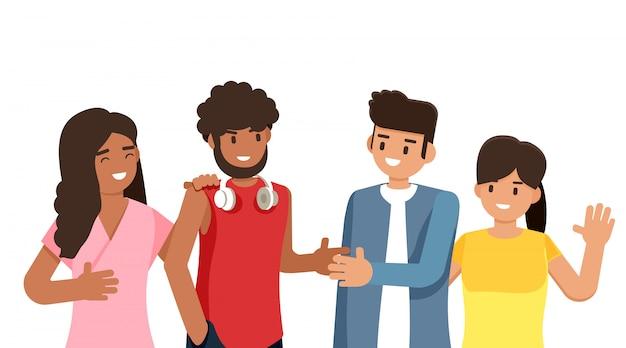 Groep jongeren van verschillende rassen en culturen geïsoleerd op een witte achtergrond, platte cartoon tekens instellen, illustratie