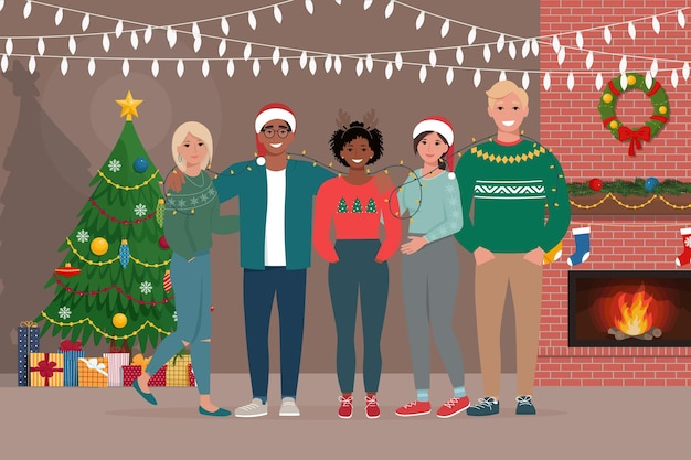 Groep jongeren vieren kerstmis of nieuwjaar samen thuis platte vectorillustratie